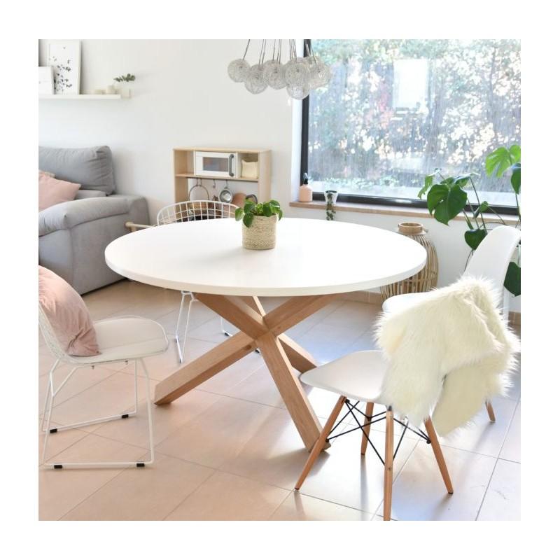 Mesa de comedor redonda de estilo nórdico con pies de roble macizo ...