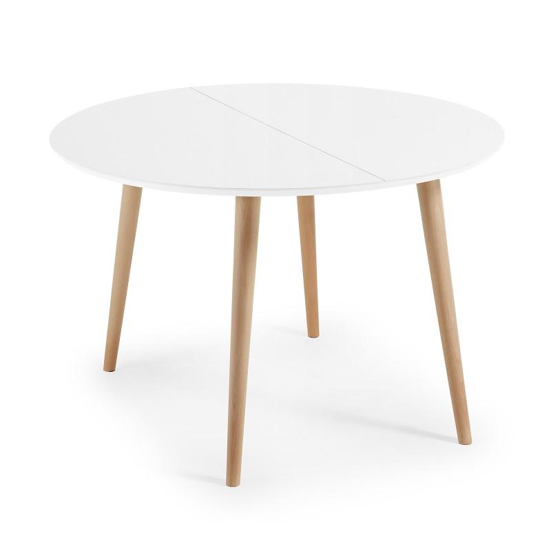 mesa de comedor redonda y extensible de diseño nórdico Ø120 cm  no ...